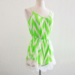 Pants - Lime Green and White Lace Chevron Romper